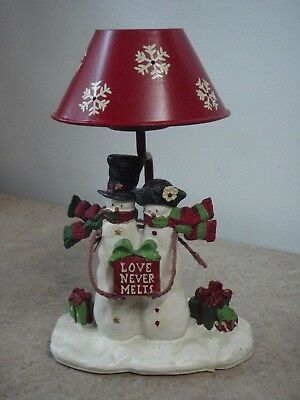 Yankee Candle Snowman Love Never Melts Mr Mrs Candle Tea Light Lamp with Shade