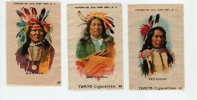 3 INDIAN PORTRAITS 1910 American Tobacco SILKs Big Snake Spotted Tail Red Cloud