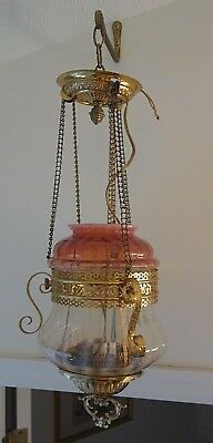 Hanging Pendant Oil Lamp Cranberry & White Opalescent Swirl Shade Electrified