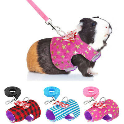 Small Animal Harness With Leash Guinea Pig Hamster Squirrel Pet Clothes Canvas
