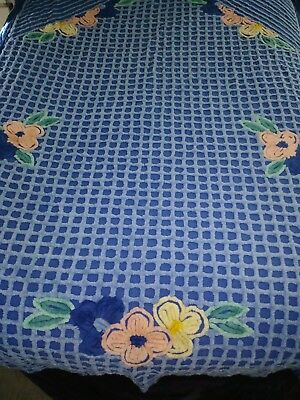 Vintage Cotton Chenille Bedspread Blue With Peach Yellow Flowers 88 x 88 Pretty