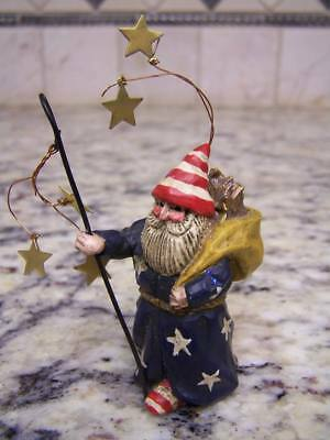 Rare Pam Schifferl Christmas Ornament- Winter's Eve Santa With Staph & Stars