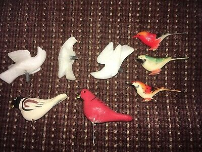 VINTAGE Group of 8 Tiny Birds, Japan ,Hand Carved, Rare! VGUC