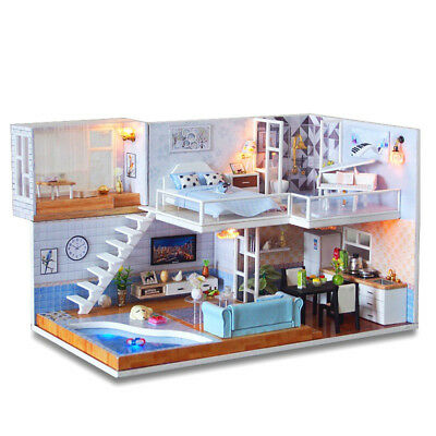 Xmas Gift DIY Wooden Toy Doll House LED Light Miniature Kit Dollhouse Christmas