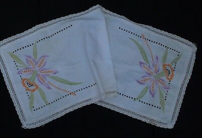 """vtg hand embroider Tropical Orchid flower bleached feedsack table runner 17x41"""""""
