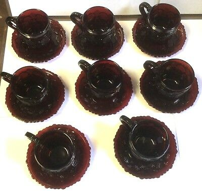 AVON 1876 Cape Cod Collection Ruby Red Glass Cups & Saucers Set Of 8