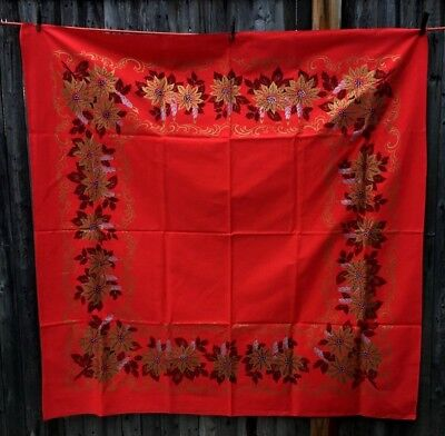 """Vintage Christmas square tablecloth red gold silver poinsettia unused 51"""" x 51"""""""