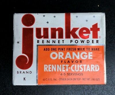 Vintage Junket rennet custard mix orange general store grocery item 1950's food