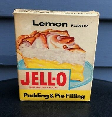 Vintage Jello lemon pudding pie mix NOS general store grocery item 1950's food