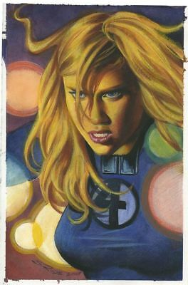 Sue Storm Jessica Alba Steve Rude Pinup Watercolor Prismacolor Painting