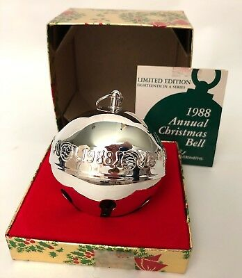 1988 Wallace Silver Plated Christmas Bell Ornament With Box and Paperwork