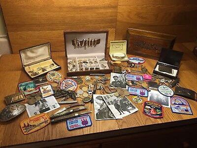 Vintage Mens Junk Drawer Jewelry Knife Coins Military Lot