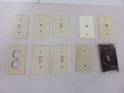 Lot Of 10 Electric Switch Outlet Covers Ribbed Ivory Brown Bakelite