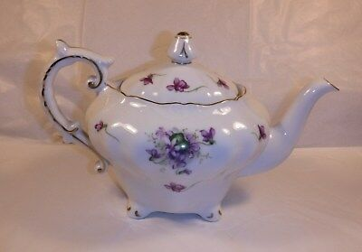 """Vintage Handpainted Rossetti """"SPRING VIOLETS"""" TEAPOT- Made in Occupied Japan"""