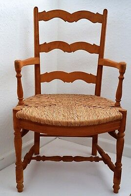 Antique English Country Armchair Ladderback Rush Seat  French  Cottage Style