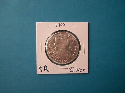 Mexico Coins 1800 Year 8 Reales Nice Silver Coin.