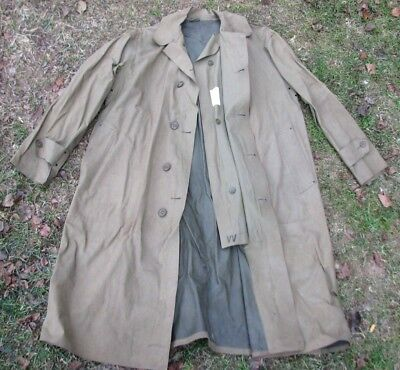 Original WWII US Army Rubberized Raincoat with Tag Dated 1943 Size Medium