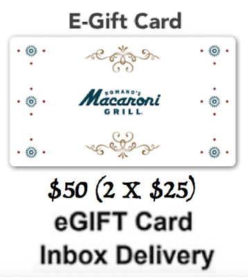 Macaroni Grill Gift Card $50 - 2 X $25 USD ( Same Day email Delivery )