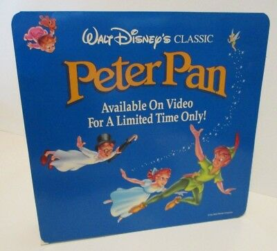 Disney Cardboard Counter Display Sign Peter Pan Home Video Two-Sided Display