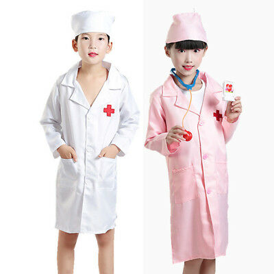 Unisex Kid Doctor Nurse Uniform Coat Fancy Dress Up Party Cosplay Outfit fashion