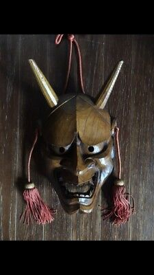Hand Carved Wooden Traditional Japanese Hannya Mask Oni