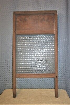VINTAGE CRYSTAL CASCADE WOOD GLASS WASHBOARD Columbus Washboard Company