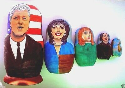 1998 Historical Hand Painted Portrait Nesting Doll 5pc US PRESIDENT BILL CLINTON