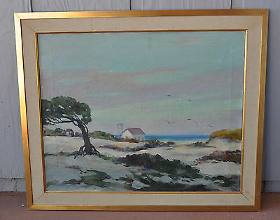 Robert Connavale - Oil Painting Sand Dunes & Seagulls- Cape Henry Virginia 1944