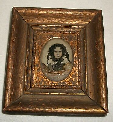 Antique Framed 1/9th Plate Ambrotype Photo Lady Vintage Emily S.Bigelow