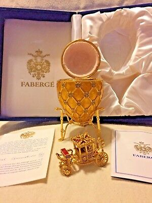 Authentic Faberge Imperial Coronation Egg with Blue Velvet Box