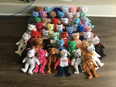 Ty Beanie Babies 47 Retired Bears - Lot Bundle Sale- Majority Mint with Mint Tag