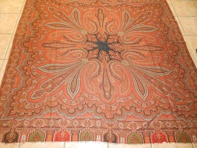 ANTIQUE C 1850s  PERSLEY KASHMIR FRENCH JACQUARD LOOMED  SHAWL