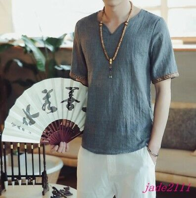 5XL Vintage Mens Kung Fu linen totem Casual short Sleeve Summer Cool Shirts New