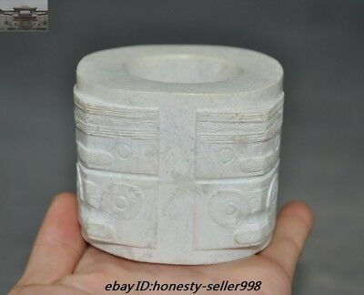 Chinese Liangzhu Culture Chicken bone white jade carved beast pattern Jade cong