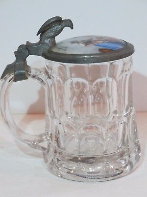 """Antique 1/3L Glass German Beer Stein with Inlay Lid """"Two Women"""" Eagle Thumb Lift"""
