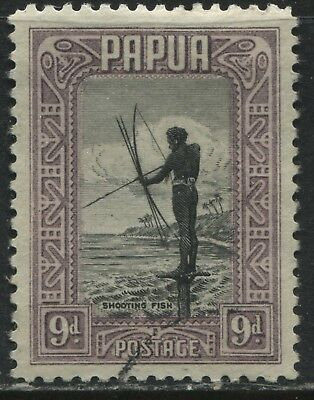 Papua 1932 9d lilac and black used