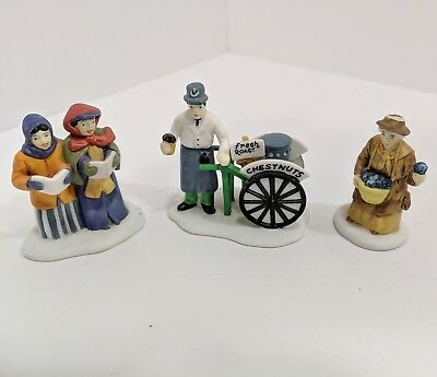 "Dept.56 Dickens Heritage Village Series ""VIOLET VENDOR/CAROLERS/CHESTNUT"" 5580-8"