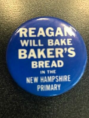REAGAN Will Bake Baker's Bread in the new hampshire primary   pinback button pin