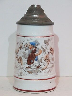 Antique 1/2L Porcelain German Beer Stein with Gnome Drinking Among Foliage
