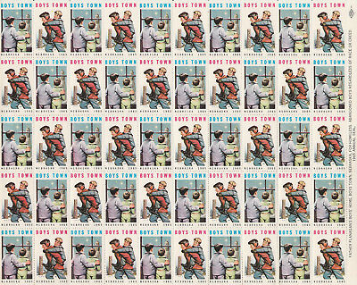 1965 Full sheet of Boys Town Christmas stamps, MNH