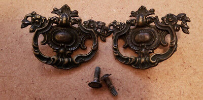 Pair Matching Antique Solid Cast Brass Drawer Pulls Handles (N111)