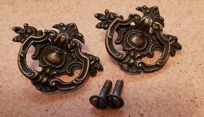 Pair Matching Antique Solid Cast Brass Drawer Pulls Handles (N112)