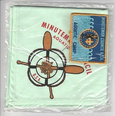 Camp Minuteman Aquatic Camp neckerchief patch set lot lt green