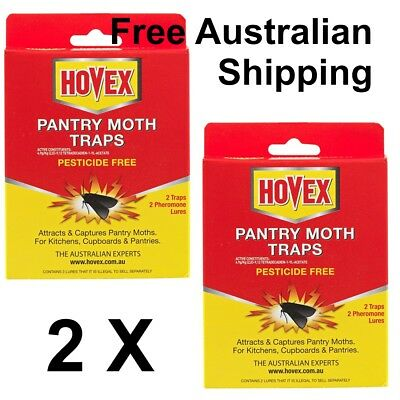 2 X Hovex Pantry Moth Traps Attracts Captures Pantry Moths Pesticide Free