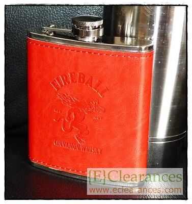 NEW Fireball Cinnamon Whisky Red Dragon Hip Flask 7oz 200ml Stainless Steel