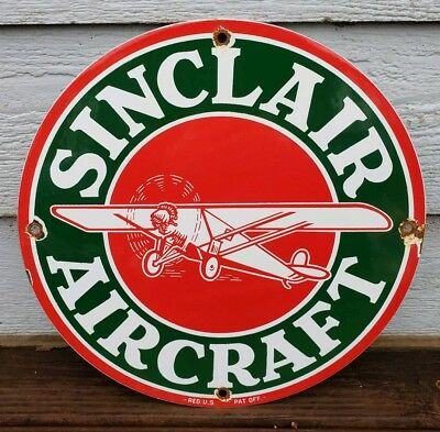 Vintage Sinclair Aircraft Gasoline Porcelain Sign Gas Station Pump Plate Oil