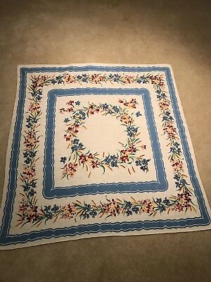 Vintage Linen Tablecloth Floral Print Blue Pink Red Green cat Tails Lilies 33x35
