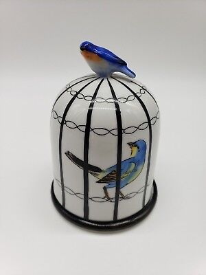 Noritake Art Deco Cigarette Jar Bird Cage White Black #9
