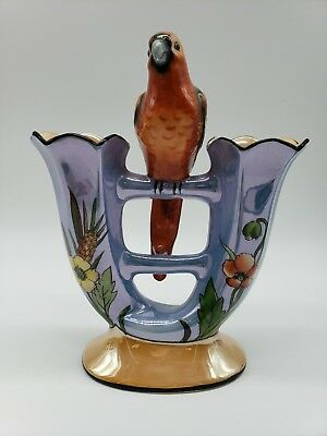 Noritake Art Deco Purple Vase Figural Red Parrot Luster 63