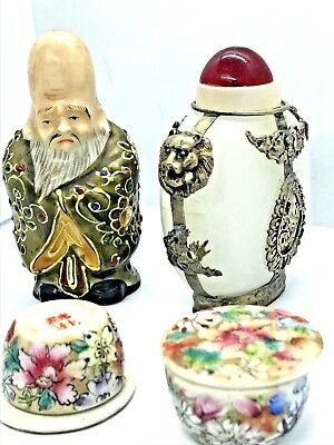 Antique Asian Porcelain Lot Snuff Bottle Opium Tea FUKUROKUJU